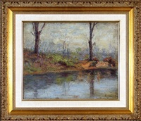 along the riverbank by ernest lawson