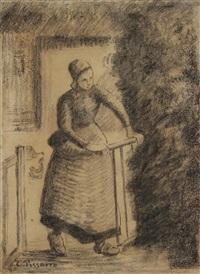 femme à la bannière by camille pissarro