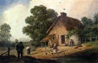 scène animée devant la ferme by georges viard