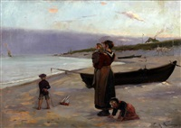 woman and children on beach awaiting the fisherman's return by friedrich (fritz) raupp