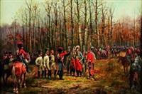 le général lasalle et son etat-major interrogeant des prisonniers autrichiens ammenés par un hussard by hugo de fichtner