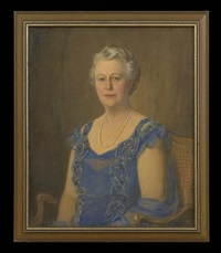 portrait of a lady in blue by howard logan hildebrandt
