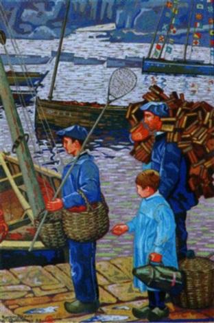 armement pour la pêche à la sardine devant les plomarch by raymond louis quillivic