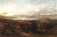 linlithgow palace and chapel, from the south, looking toward the river forth and ochil hill by henry g. duguid