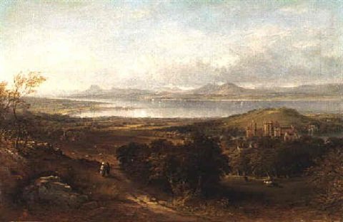 linlithgow palace and chapel from the south looking toward the river forth and ochil hill by henry g duguid
