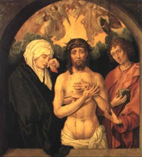 the man of sorrows with the virgin and st. john the evangelist by michiel sittow