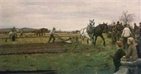 a ploughing match, cornwall by william banks fortescue