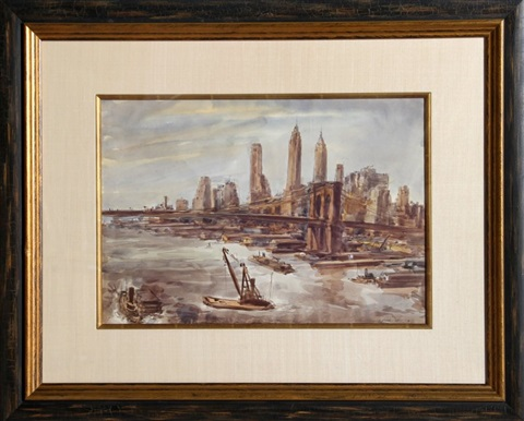 brooklyn bridge and lower manhattan by reginald marsh