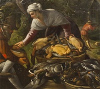 peasants plucking ducks by a wood, a hunter beyond by paolo fiammingo dei franceschi