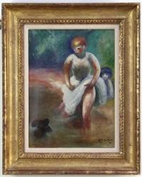 Girls Wading with Dog, 1934