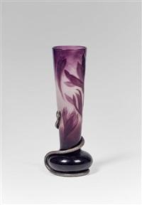 vase mit silberschlange by émile gallé