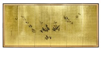 a pair of six-fold screens (pair) by gyokusho kawabata