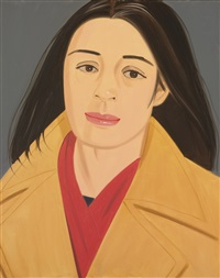 the red scarf (ada in polo coat) by alex katz