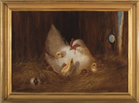 mother hen with chicks by hattie hutchcraft hill
