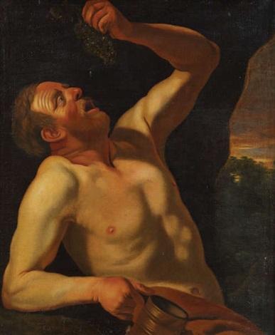 homme à la grappe de raisins allégorie du goût by christian van couwenbergh