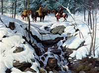cowboy and american indian on horseback by a waterfall in a snowy landscape by john leone