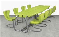 komed conference table and eight chairs (9 works) by marc newson