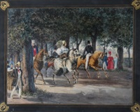 elegant figures riding through woodland by jean-baptiste-fortune de fournier