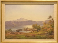 vy med båtar och fiskare, colli albani lazio by hermann david salomon corrodi