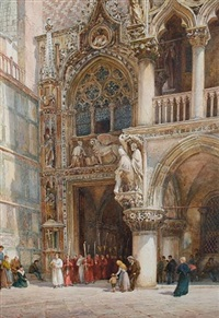 the doge's palace, porta della carta, venice by william harding smith
