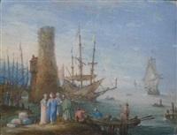 les marchands à l'arrivée des bateaux by johann wilhelm baur