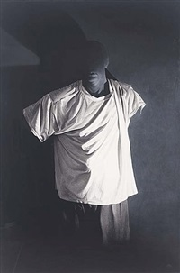 self-portrait in da vinci t-shirt by greg warburton