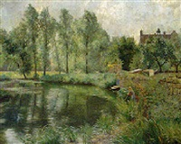 along the riverbank by schuttorf castle by adolf glatte