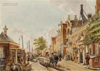 view of the nieuwezijds kapel on the rokin/an amsterdam view by willem stad