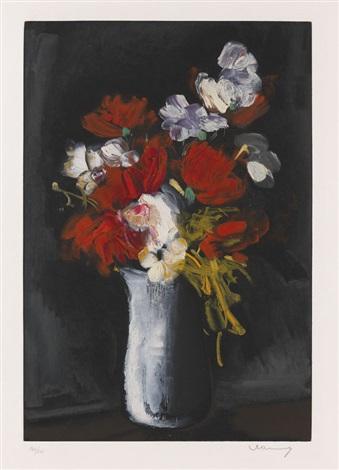 vase de fleurs sur fond noir by maurice de vlaminck