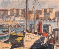 bateaux dans le port de marseille by louis audibert