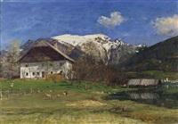 abersee (fährhütte) mit blick auf st. wolfgang und schneebedecktem schafberg by adolf helmberger
