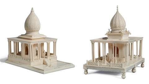 model of shiva lingam shrine (+ another; 2 works) by indian school-bengal (19)