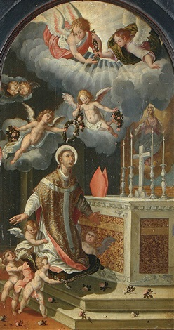 saint ildephonsus recieving a floral crown by hispano flemish school 17