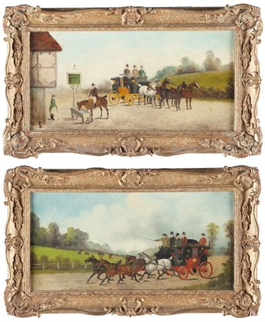 untitled coach and four with passengers passing an open field another pair by philip h rideout