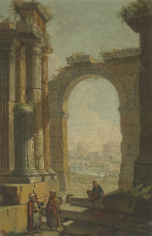 figures in oriental costume standing in classical ruins the castel santangelo and dome of saint peters beyond by gioacchino assereto
