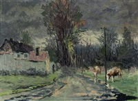 cows along a path by cornelis kees bol