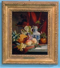 still life with fruit and stoneware tankard by joseph denovan adam