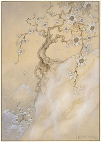 the 358st night, the story of queen jamlika; a flowering tree on a mountaintop by anton pieck