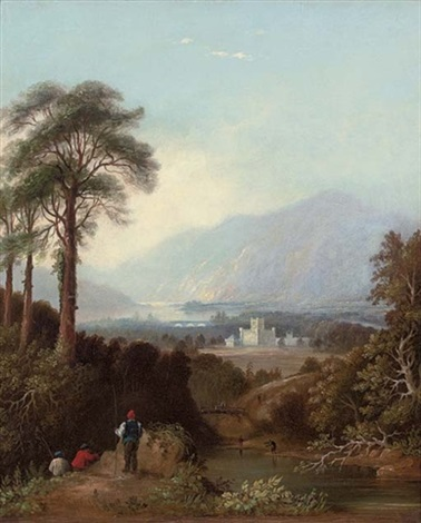 fishermen by the river tay perthshire with taymouth castle beyond by charlotte nasmyth