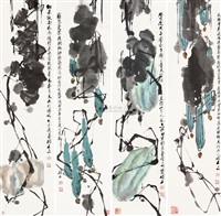 花卉 (set of 4) by chen shuoshi