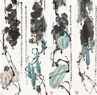 花卉 (set of 4) by chen shuoshi