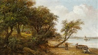 a scene on the orwell, possibly nacton foreshore by robert burrows
