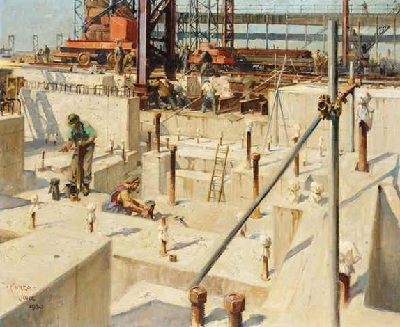 steel works at magram by terence cuneo