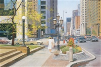 sunny spring day in montreal (a view of sherbrooke st. w., corner stanley st., looking east) by andris leimanis