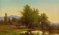 landscape with pond, barn and figures by albert fitch bellows