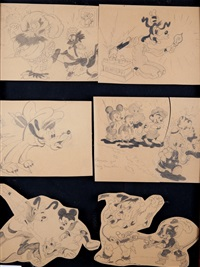mickey mouse (+ 3 others, 4 works recto/verso) by walt disney