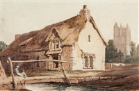 footbridge over a stream by a thatched cottage and church by samuel prout