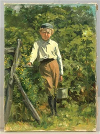 portrait of a young boy with pail by violet oakley