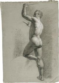 männlicher rückenakt mit aufgestütztem knie by johann friedrich overbeck