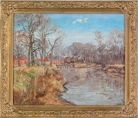 landscape with river and locks by hugh h. campbell